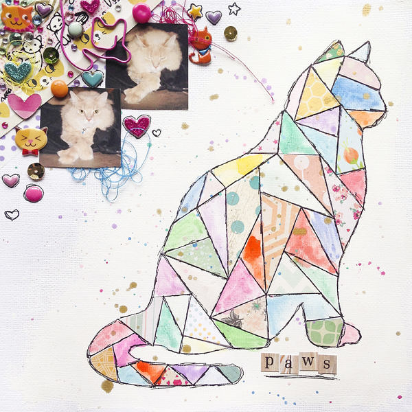 Paws Cat Scrapbook Layout